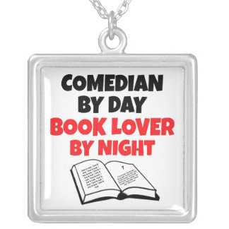Book Lover Comedian Silver Plated Necklace