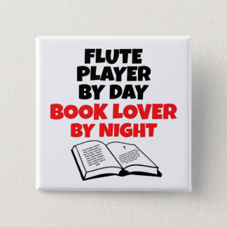 Book Lover Flute Player 2 Inch Square Button