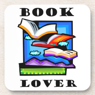 """Book Lover"" - Flying books & pages for reading Drink Coaster"