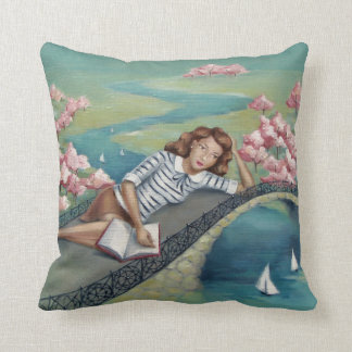 Book Lover Girl Aqua Teal Throw Pillow