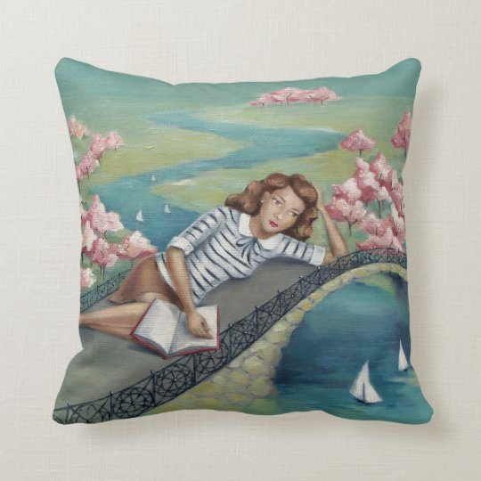 Book Lover Girl Aqua Teal Throw Pillow