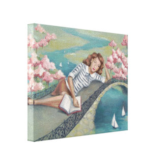 Book Lover Girl Canvas Print