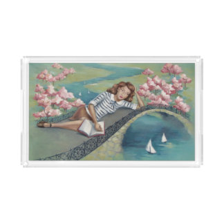 Book Lover Girl Pastel Acrylic Rectangle Tray