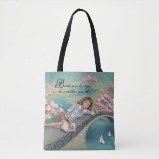 Book Lover Girl Tote Bag