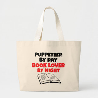 Book Lover Puppeteer Large Tote Bag