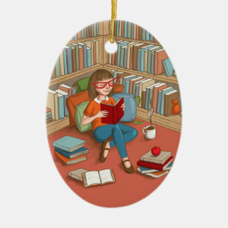 Book Lover sitting with her books Ceramic Oval Ornament