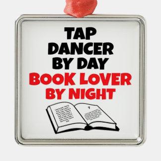 Book Lover Tap Dancer Silver-Colored Square Ornament