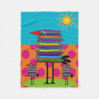 Book Lovers Fleece Blanket Whimsical Book Birds