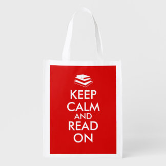 Book Lovers Keep Calm and Read On Shopping Bag Red Reusable Grocery Bag