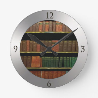 Book Lover's Silver Round Clock