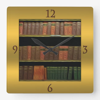 Book Lover's Square Gold Square Wall Clock