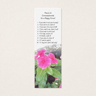 Book Mark - Mom's 10 Commandments Book Mark Mini Business Card