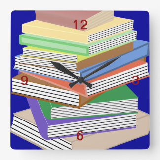 Book Nerd Square Wall Clock