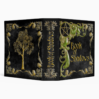 Book Of Shadows Black with Gold & Green Highlights 3 Ring Binders