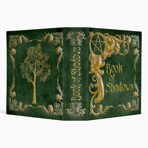 Book Of Shadows Green with Gold  Highlights 3 Ring Binder
