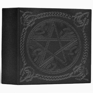 """""""Book Of Shadows"""" Gun Metal Grey w/ Pentagram-A 3 Ring Binder"""
