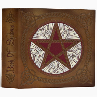 Book Of Shadows in Golden Brown & Red Pentagram- 1 Vinyl Binders