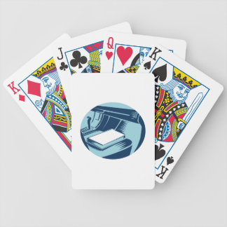 Book On Car Seat Oval Woodcut Bicycle Playing Cards