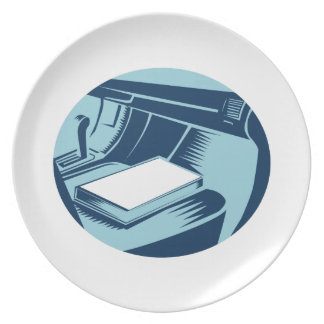 Book On Car Seat Oval Woodcut Plate