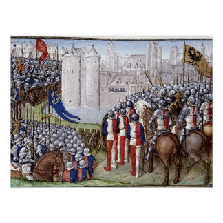 Book painting the Middle Ages siege Poster
