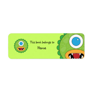 Book plate with monster design return address label