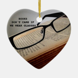 BOOK READER GLASSES POEM, BOOK LOVER CERAMIC HEART ORNAMENT