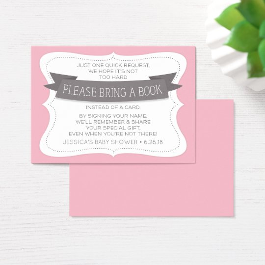 Book Request Insert Card - Bring A Book - Pink