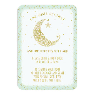 Book Request Twinkle Little Star Baby Shower Mint Card