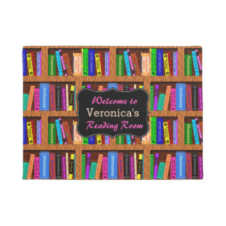 Book Shelf Bookworm Library Reading Room Your Name Doormat