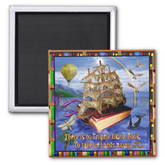 Book Ship Ocean Scene with Emily Dickinson Quote Square Magnet