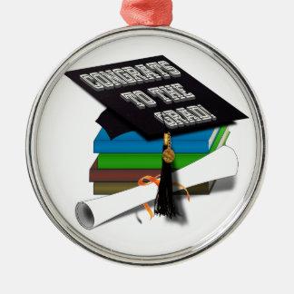 "Book Stack ""CONGRATS TO THE GRAD"" Diploma Metal Ornament"