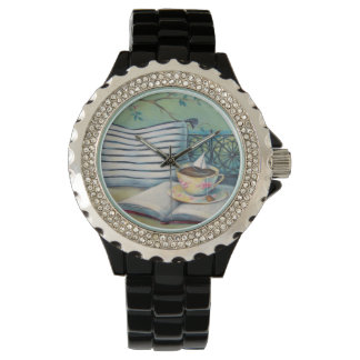 Book & Teacup Black Rhinestone Watch