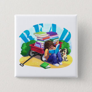 Book Wagon 2 Inch Square Button