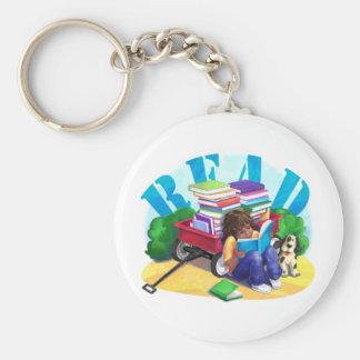Book Wagon Basic Round Button Keychain