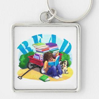 Book Wagon Silver-Colored Square Keychain