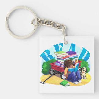 Book Wagon Single-Sided Square Acrylic Keychain