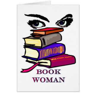 Book Woman Blank Card