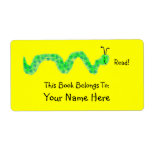 Book Worm, Bookplate Personalized Shipping Labels