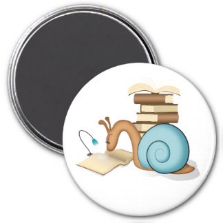 """""""Book Worm"""" Sneople Snail 3 Inch Round Magnet"""