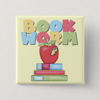 Book Worm Tshirts and Gifts 2 Inch Square Button