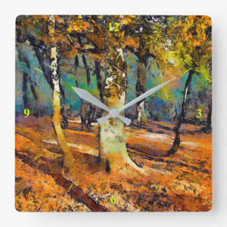 Booker Woods and light spills around the trees Square Wall Clock