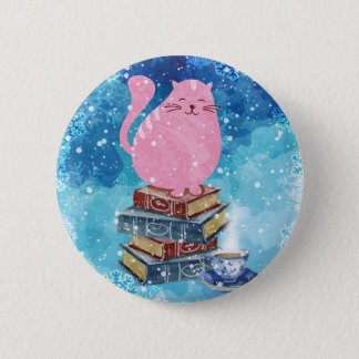 Bookish Cat in Winter 2 Inch Round Button