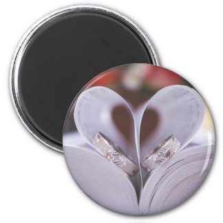 Bookish heart 2 inch round magnet