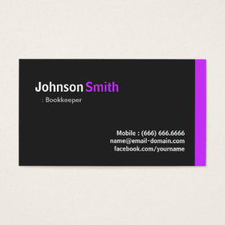Bookkeeper - Modern Minimal Purple Business Card