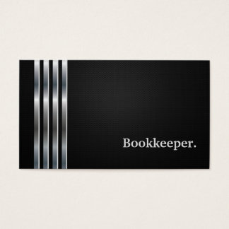 Bookkeeper Professional Black Silver Business Card