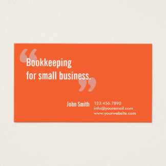 Bookkeeping Service Minimal Orange Business Card