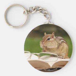Booklover Chipmunk Keychain