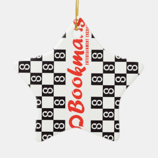 Bookmans wrapped design ceramic ornament