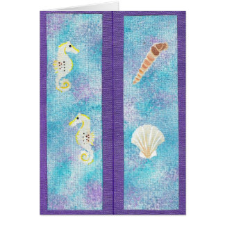 Bookmarks Sea Horses & Seashells on purple Card