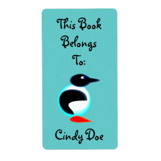 Bookplate Book Label Fun Penguin Bird Neon Cute Shipping Label